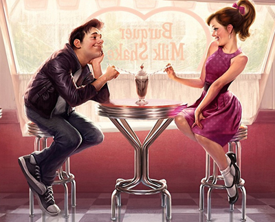 двое в кафе